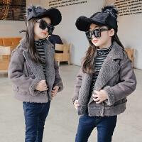 女童羊羔毛2017冬装新款童装儿童翻领机车麂皮绒棉衣棉袄外套