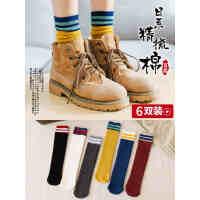 袜子女中筒袜韩版学院风春秋冬个性薄纯棉韩国百搭堆堆袜女长袜潮