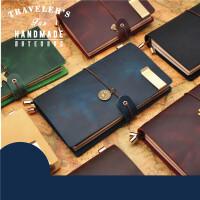手工牛皮本旅行笔记本文具复古日记本真皮记事本随身便携小本子