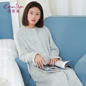 【便服】康妮雅秋冬睡裙 女士长袖珊瑚绒简约休闲开衫长款睡裙