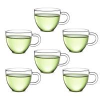 6只�b玻璃茶杯子 �t茶杯功夫茶具80ML玻璃小茶杯�О哑繁�透明品茗杯子耐�岜�功夫夫茶具水杯 杯子