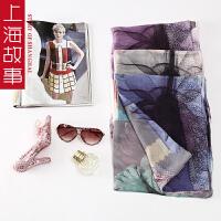 上海故事女桑蚕丝春秋夏季新款丝巾长款韩版时尚超大百搭围巾披肩