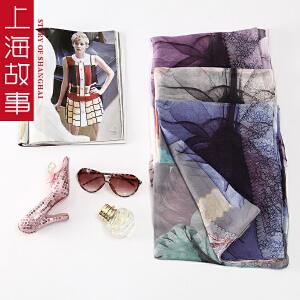 上海故事秋冬女款100%桑蚕丝多功能时尚丝巾长印花百变超大纱巾沙滩巾