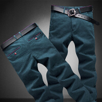 冬季商务直筒长裤红线镶边设计男裤时尚男士磨毛休闲裤