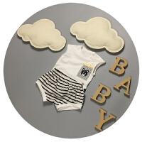 婴儿夏装新生儿背心套装纯棉0-1岁男宝宝3-6-9个月无袖短裤两件潮