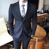 秋季西服休闲裤套装男韩版修身发型师时尚潮流条纹三件套英伦个性