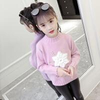 儿童水貂绒打底衫小女孩加厚针织上衣女童毛衣洋气秋冬装