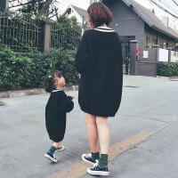 女童毛衣V领母女装黑白经典纯棉女宝宝毛衣裙儿童亲子装