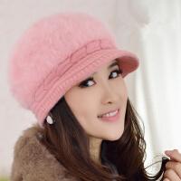 女士帽子可爱毛线帽贝雷帽鸭舌帽韩版潮兔毛帽子女