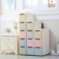 收纳柜 马卡龙系列塑料抽屉式收纳柜 厨房夹缝储物柜多层收纳柜