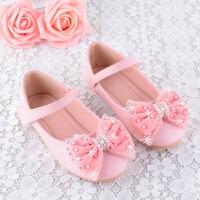 女童公主皮鞋春秋新款平底韩版珍珠蝴蝶结单鞋2-12岁舒适童鞋