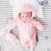 婴儿连体衣服宝宝新生儿0岁5个月3季装冬季冬装睡衣新年