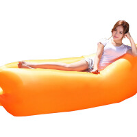 户外充气沙发睡袋便携空气沙发床冲气沙滩午休懒人口袋游泳池 耐磨 橙色
