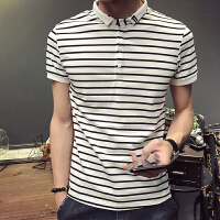 夏季韩版男士POLO衫短袖T恤潮流时尚条纹修身原宿半袖