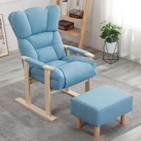 躺椅折叠老人实木家具休闲靠背椅家用半躺床午休电脑沙发椅 梦之蓝 加厚+凳