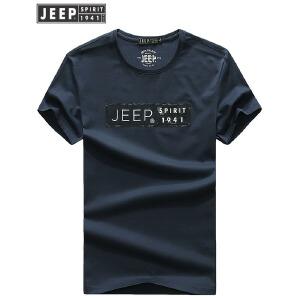 JEEP吉普纯棉短袖T恤男夏季时尚休闲圆领打底t恤男装字母图案潮牌运动体恤衫
