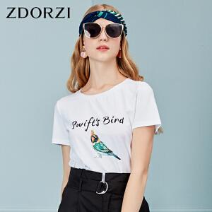 卓多姿短袖T恤女2018夏新品直筒百搭休闲动物字母图案736E523