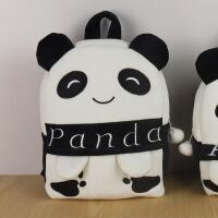幼儿园小书包儿童宝宝包包1-2-3-6岁男女童小孩卡通可爱双肩背包 白色 中号-熊猫
