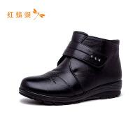 红蜻蜓女鞋时尚马丁靴保暖防寒潮流百搭尖头平底成熟短靴