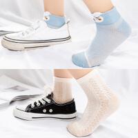 儿童袜子春秋薄款袜中大童船袜男童女童网眼夏季运动短袜
