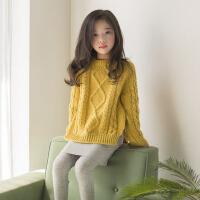 女童加厚圆领套头毛衣韩版冬装百搭中大童麻花短款开叉针织打底衫