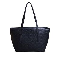 女包大包包2018新款日韩版潮复古托特包简约时尚百搭手提包单肩包 黑色