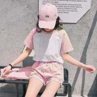 户外休闲运动套装女韩版宽松短袖短裤学生跑步两件套女