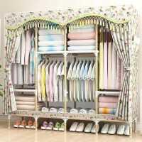 【满减优惠】双人单人衣柜简易布衣柜实木布艺挂衣柜子家用网红非钢管加粗加固