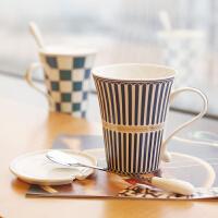欧式创意陶瓷杯子带盖勺咖啡杯牛奶早餐茶杯简约马克杯情侣喝水杯