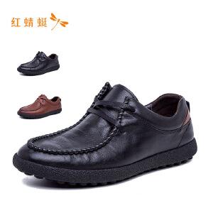红蜻蜓低跟系带时尚百搭休闲男皮鞋