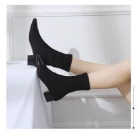 网红女鞋新款高跟踝靴ins超火的袜靴粗跟短靴飞织高帮马丁靴