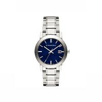 巴宝莉 时尚休闲英伦经典圆盘格纹蓝盘女士手表