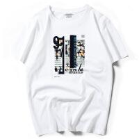 新款男式短袖T恤100%纯棉半袖港风潮牌体恤宽松夏季大码7