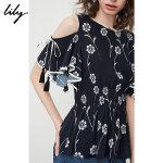 【预估到手价99.8】Lily春夏新款女装两穿露肩流苏系带收腰印花雪纺衫118220C8503