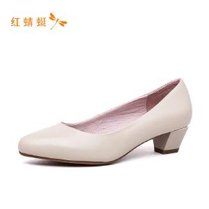 【专柜正品】红蜻蜓纯色简约百搭圆头低跟粗跟女单鞋