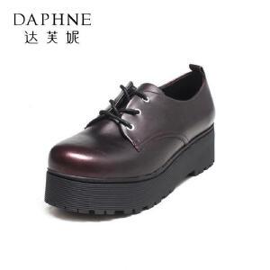 Daphne/达芙妮单鞋秋季深口圆头系带松糕底中跟