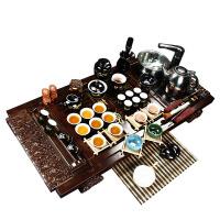 尚帝 杯架祥云黑金龙套装 陶瓷茶具套装 整套功夫茶具茶盘 实木茶盘套装 Z-BJXY044
