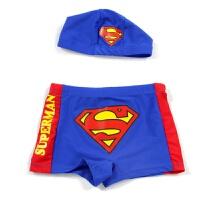 超人可爱儿童泳裤 分体游泳裤帽 小孩游泳衣男童泳装游泳平角泳裤 超人泳裤+泳帽