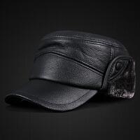 新款男士真皮帽子中老年冬季户外加厚保暖护耳平顶帽鸭舌帽