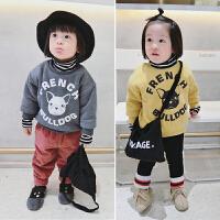 宝宝卫衣女1-3岁韩版女童加绒卫衣高领加厚保暖男童儿童冬季上衣