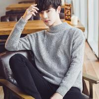 冬季男士圆领针织衫加厚加绒半高领毛衣男韩版个性潮流线衣学生潮