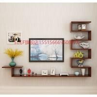 客厅电视背景墙装饰架壁挂简约现代组合电视柜创意造型隔板墙 总长 310*20深 柚木色