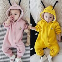秋冬季婴儿连体衣服双层加厚哈衣爬服新生儿宝宝冬装外出服拉链潮
