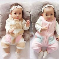 婴儿秋冬装女童装背带裤加绒加厚儿童女宝宝大童外穿保暖夹棉裤子