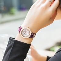 正品女手表防水时尚款陶瓷石英表时尚潮流镶钻真皮带女士手表