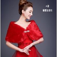 新款婚纱礼服毛披肩冬季新娘结婚外套伴娘礼仪双面加厚保暖白外搭