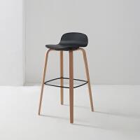 实木吧台椅家用北欧简约休闲酒吧现代ins创意高脚椅子高脚凳
