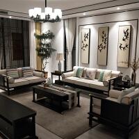 新中式沙发现代中式古典禅意别墅客厅实木布艺沙发中国风家具定制 1+1+3+ 组合