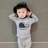 婴儿秋季新款纯棉0-3岁男宝宝新生儿韩版外出条纹上衣幼儿T恤