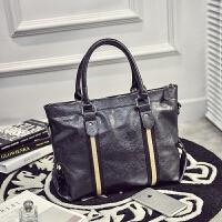 男包横款手提包男士包包韩版单肩包斜挎包休闲商务皮包旅行包潮包 黑色